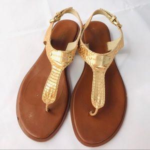 Michael Kors metallic textured gold sandals